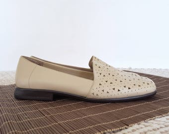 Vintage Tan Leather Loafers Slip On Flats Geometric Cutout Minimalist Casual Shoes Womens 7.5