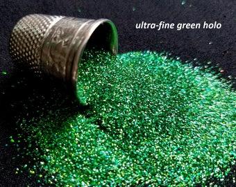 glitter (solvent-resistant) - green hologram ultra-fine