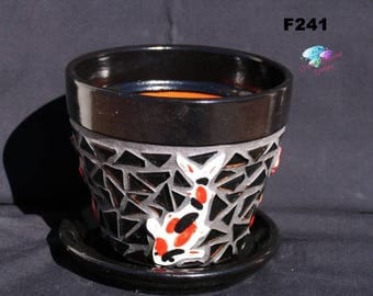 "Summer Sale 6"" KOI Mosaic Flower Pot - Handmade Tile and Glass Tiles Look great in your Home F241"