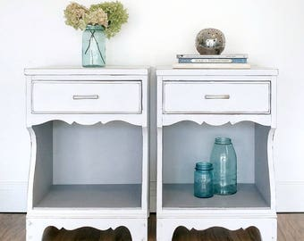 Vintage 1950u0027s Nightstand Set Chalk Painted In Annie Sloan Pure White/Paris  Grey/Endtables