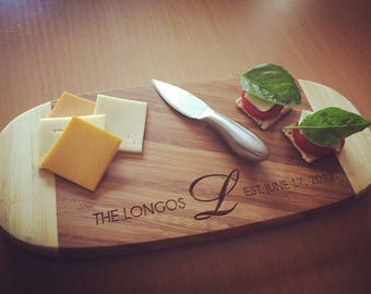 Bamboo Cutting Board, Personalized Cheese Tray, Engraved Cutting Board, Serving Board, Custom Wedding Gift, Housewarming Gift, Serving Tray