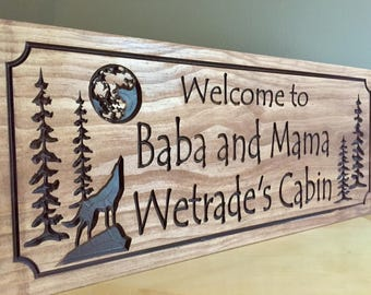 Personalized Cabin Welcome Signs Rustic Family Last Name Wolf Howling at Moon Silhouette carved Wooden Sign Cottage Cabin Decor Address Sign