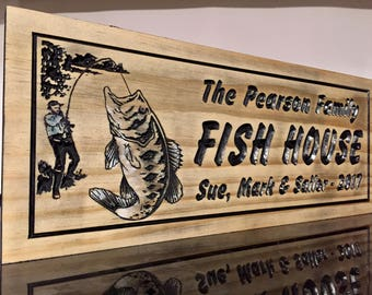 Custom Wood Sign, Family Fishing Sign, Large Mouth Bass, wooden Carved Plaques, Wood Signs, Carved Signs, Bass Fishing, Gifts for Dad