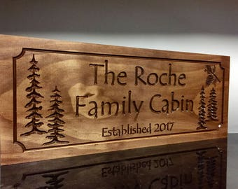 Personalized Wood Sign, Wooden Sign, Custom Wood Sign, Camp Signs,  Lake House Decor, Cottage Signs, Pine Tree, Pine cone, Address Plaque