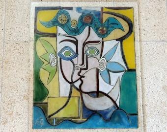 Fused glass panel,home decor,wall panel,Picasso,glass panel,Picasso glass wall panel