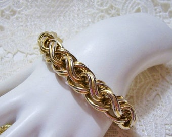 SALE Vintage ERWIN PEARL Bracelet Gold Silver Tone Thick Espiga Chain Bracelet Jewelry
