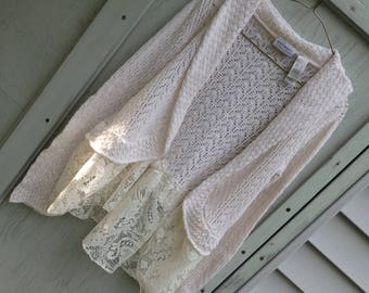 Sweaters,Shabby Chic Tops, White Shrugs, Romantic Tops, Altered Sweaters, Knitted Tops, Embellished tops, White Cardigans, Lace Edged tops