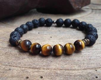 Mens bracelet Tiger eye and stone of lava rock 8 mm black matte, bronze, trendy
