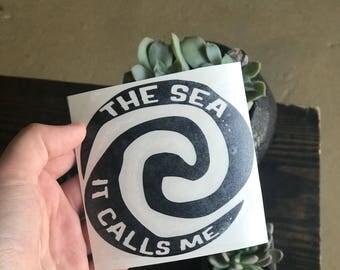 The Sea, Its Calls Me vinyl decal, Moana