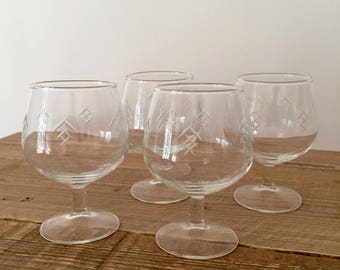 Set of 4 Etched Glass Brandy Snifters