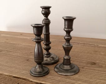 Vintage Mix Match Trio of Pewter Turned Mini Taper Candleholders