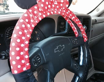Steering Wheel Cover Minnie Mouse Inspired with Ears & Bow