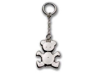 Charm pendant silver Teddy bear charm keychain