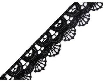 3 cm black guipure lace trim