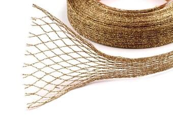 Lace Ribbon mesh net gold lurex 1 to 12 cm