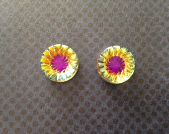 2pcs cabochon 14mm vintage Czech glass Daisy flower Czech vintage
