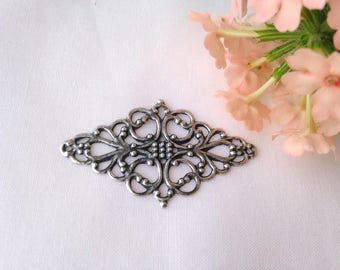 1pc 50x29mm engraving antique silver filigree connector