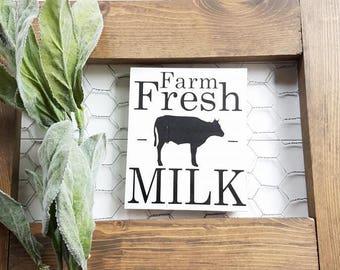 Farm Fresh Milk Magnet - Farmhouse Decor - Magnets - Farmhouse Signs - Farmhouse Kitchen Decor - Kitchen Decor - FREE SHIPPING