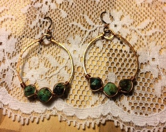 African turquoise hammered copper hoops and niobium