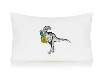 Dinosaur with a pineapple pillow case, T-Rex, cushion, bedding, pillow cover