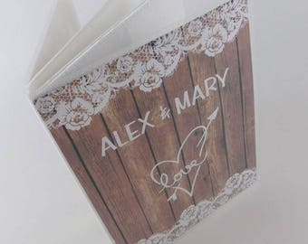 Wedding photo album personalized photo album bridal Shower gift engagement photo album rustic 4x6 photo album 5x7 photo album 375 NOT WOOD Z