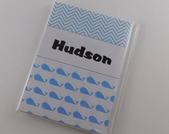 Whale Photo Album Baby Boy Blue chevron Personalized Baby Shower Gift Grandmas Brag Book 4x6 or 5x7 pictures 773