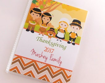 Thanksgiving Photo Album Pilgrim Turkey Baby 1st Holiday 4x6 or 5x7 Pictures Personalized Baby Keepsake Boy Girl Autumn Fall 804