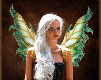 Adult Fairy Wings**RTS**Iridescent White/Teal/Gold**FREE SHIPPING**Costume/Masquerade/Cosplay/Weddings/Renn Faires/Photo shoots