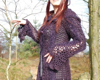 SALE Crochet Sweater Coat Lace Blouse Hooded Asymmetrical Cardigan Bohemian Hippie Gypsy Pixie Fairy Elven Goth Nymph Dryad Hoodie Coat OOAK