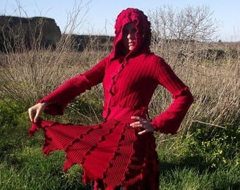 SALE Deep Red Fairy Pixie Elvish Recycled Sweater Coat Upcycled Gypsy Sweater Coat Hippie Boho Pagan Woodland Festival clothing