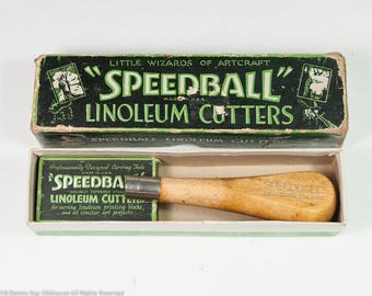 Vintage Speedball linoleum cutter in original box w great old time typography, pumpkin carving tools, lino cut vintage art supplies, fun!