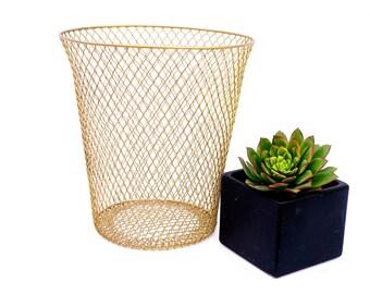 Wire Waste Basket vintage wire trash can | etsy