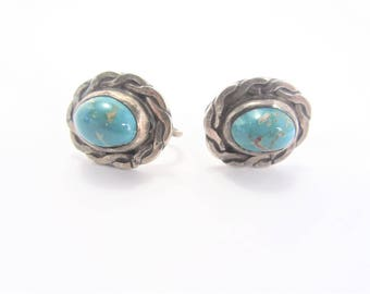 Vintage Sterling Turquoise Earrings Screw On Back