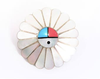 Vintage Sterling Zuni Sun Face Mother of Pearl Inlaid Brooch Pendant Option