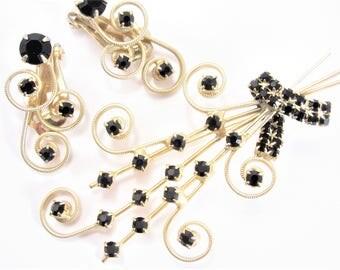 Vintage 60s Black Rhinestone Brooch Earrings Jewelry Set Demi Parure