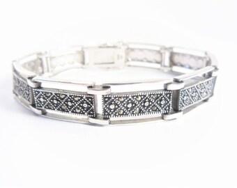 Vintage Sterling Marcasite Rectangular Link Bracelet