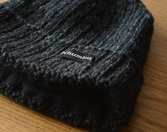Khumbu Hand Knit Beanie, Hand Knit Hat, Hand Knit winter hat with Fleece Lining, Comfy and Warm
