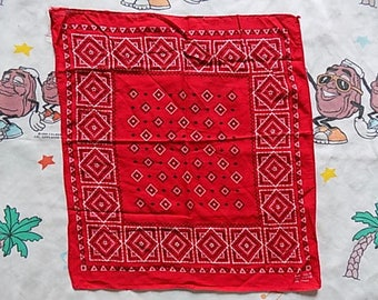 Vintage 60's Red geometric pattern Fast Color Bandana handkerchief scarf Rockabilly Americana