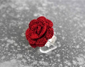 Ring crochet dark red (Burgundy)
