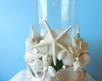Sea Shell Sea Glass Candle Holder/Vase, Shell Hurricane Holder, Beach Decor