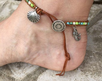 Mermaid Anklet Mermaid Jewelry Shell Anklet Shell Jewelry Bohemian Leather Anklet Beach Boho Made in USA Cute Anklet Ankle Bracelet