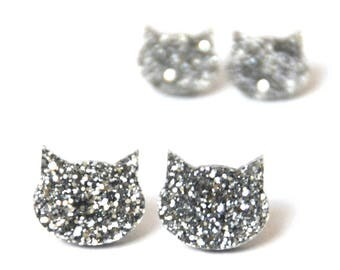 Glitter Cat Studs · Cat Earrings · Silver Cat · Silver Glitter Cat Earrings · 2 sizes