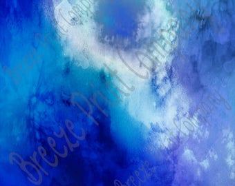 Watercolor pattern printed craft  vinyl sheet - HTV or Adhesive Vinyl -  blues  HTVWC15