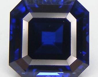 Blue Sapphire Excellent Cut Asscher 10 x 10  mm. Blue Sapphire Lab Corundum Lab Created