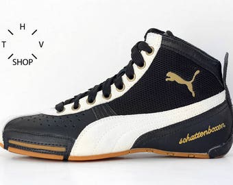 NOS Puma Schattenboxen Mid boots / OG Deadstock Trainers Sneakers Hi Tops / Black White Gum vintage kicks / Boxing Wrestling Combats shoes