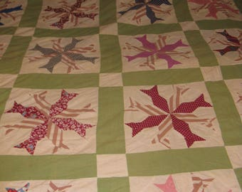 Vintage hand stitched quilt top crafting fabric