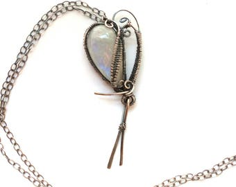 Wired Heart Pendant Necklace with Rainbow Moonstone