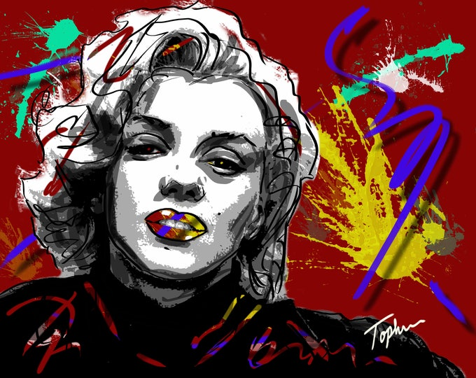 "Featured listing image: Limited Edition Print.  "" Marilyn "" Digital painting, Wall art, Painting. Art print"
