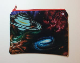 Quirky Monday Crafts Zipper Pouch, Galactic fabric, Knitting project bag, Crochet project bag, cosmetics bag, lined zipper bag