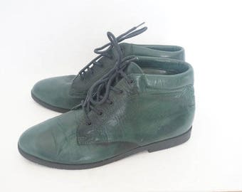Vintage 90s Danexx Green Leather Lace Up Ankle Boots- Womens Size 7 M